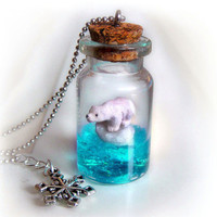 Polar bear on an iceberg bottle necklace