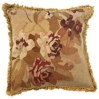 Antique French Floral Aubusson Pillow
