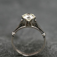 1ct Old Cut White Gold Solitaire Diamond Engagement Ring by Ruby Gray's | Ruby Gray's Antique & Vintage Rings