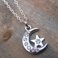 Rhinestone Moon and Star Necklace  Silver Moon by ChelseaJewels