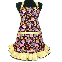 Cupcake Apron , Brown and Pink , Full Retro Hostess Style Ruffle
