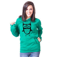 Just Another Owl American Apparel Pullover Hoodie by rainbowswirlz