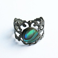 Abalone Ring   Gunmetal VintageStyle Filigree by SkyeDancerJewelry