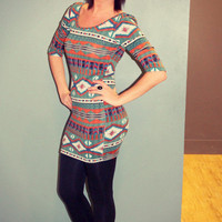 Tribal Print Body-Con Dress