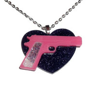 Kitsch Gun Necklace, Violet Glitter Heart, Bubblegum Pink Pistol