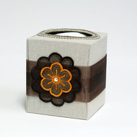 Brown tangerine neutral refillable tissue box by SuziesImaginarium