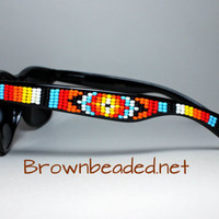 Hand Beaded Sunglasses Tribal Design Red