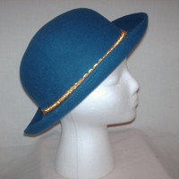 Vintage 1980s  Blue Felt Hat Small Brim