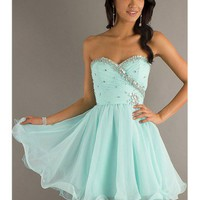 Sweet Light Sky Blue Sweetheart Mini Prom Dress