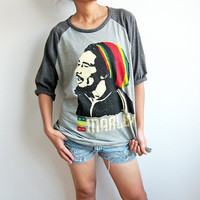 Bob Marley Reggae Ska Jamaican Punk Rock Grey T by TheRockerShop on Etsy