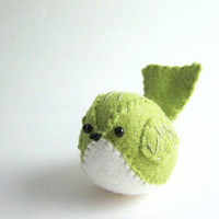 Felt Bird in Light Green by SeaPinks on Etsy