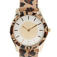 ASOS | ASOS Animal Print Watch with Matching Bezel Detail at ASOS