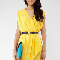 New Colors on the Block Belted Dress in Yellow :: tobi