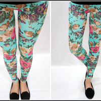 Sandysshop — Flower Printed Mint Leggings