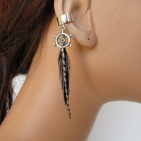 Silver Ear Cuff Wrap Black Feathers Cartilage Non Pierced Ship Wheel Charm