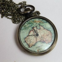Jezie Jewelry — Map Pocket Watch Necklace