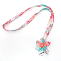 Lanyard with Mutli-color Kanzashi Flower,  Id Badge Holder with a clip holder