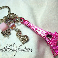 Eiffel Tower Keychain Pendant Magenta Pink by EarthCandycreations