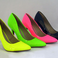 New Pointy Toe Heels Pumps Neon Patent Pink Green Yellow Black Momentum-06N 6-10