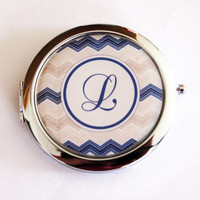 Monogram compact mirror, personalized, Chevron, customizable, purse mirror, compact mirror, monogram (2208)