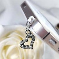 Amazon.com: Open Heart Shape Rhinestone Charm RECH-004111-2 Dust Plug / Earphone Jack Accessory / Ear Cap: Electronics