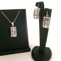 Rhinestone tibetan silver wedding jewelry set 925 sterling silver chain wedding jewelry bridal jewelry set bridesmaid gifts