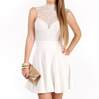 White Crochet Peplum Dress