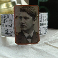 Thomas Edison cuff bracelet vintage schematics and by peacemama73