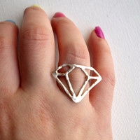 Sterling Silver Diamond Outline Ring