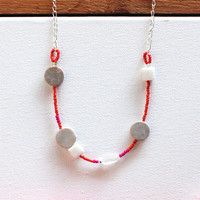 HOT FUCHSIA NECKLACE  / bright beaded moonstone by SOFTGOLDSTUDIO