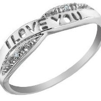 Amazon.com: I Love You Diamond Promise Ring in 10K Gold: Jewelry