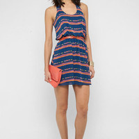 Ikat Open Tank Dress in Blue :: tobi