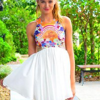 White Sleeveless Dress with Floral Print Top & Racerback
