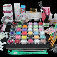 Nail Art Acrylic Powder Primer Glitter Striping Liquid Tips Brush Glue KITS UJ