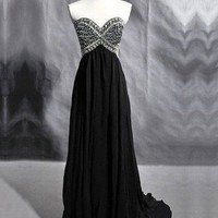 WowDresses — Stunning A-line Sweetheart Court Train Prom Dress with Rhinestones