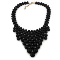 J.Crew Bubble Necklace, Anthropologie Necklace, J.Crew Bauble Necklace, Chunky Black Statement Necklace,  Triangle Geometric Necklace