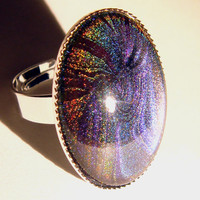 Nail polish ring - holographic water marble swirl