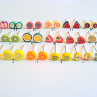 Food Earrings  polymer fruit studs  kawaii by thewoodlandburrow