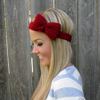 Crimson Red Bow Headband with Natural Vegan Coconut Shell Buttons - Adjustable