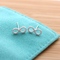 simple INFINITY stud earrings with crystals, 2 colors | girlsluv.it