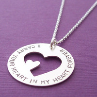 I Carry Your Heart Necklace in Sterling Silver -  Hand Stamped Memorial Pendant by Eclectic Wendy Designs