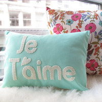Je T&#x27;aime Pillow in Light Teal by HoneyPieDesign on Etsy