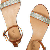 J.Crew | Glitter-finish leather sandals | NET-A-PORTER.COM