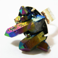 Bezel Set Titanium Aura Quartz Ring by nubambu on Etsy