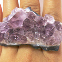 Raw Amethyst RIng by nubambu on Etsy