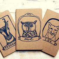 Three Pack Framed Animals Pronghorn Great Horned Owl Fox Bear Raccoon Deer Wolf Pocket Size Moleskine Journals Notebooks Kids