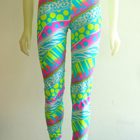 2 PAIR LEFT Neon Crazy Leggings