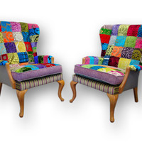 Patchwork Wing Back Armchair hand made in England