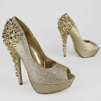 glitter spiky stud peep toe pump &amp;#36;60.50 in BLACK GOLD SILVER - Stunning Shoes | GoJane.com