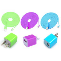 Total 6pcs/lot! Colorful 3PCS USB Data Sync Charging Cable Cord And 3PCS USB Power Adapter Wall Charger For Iphone 5